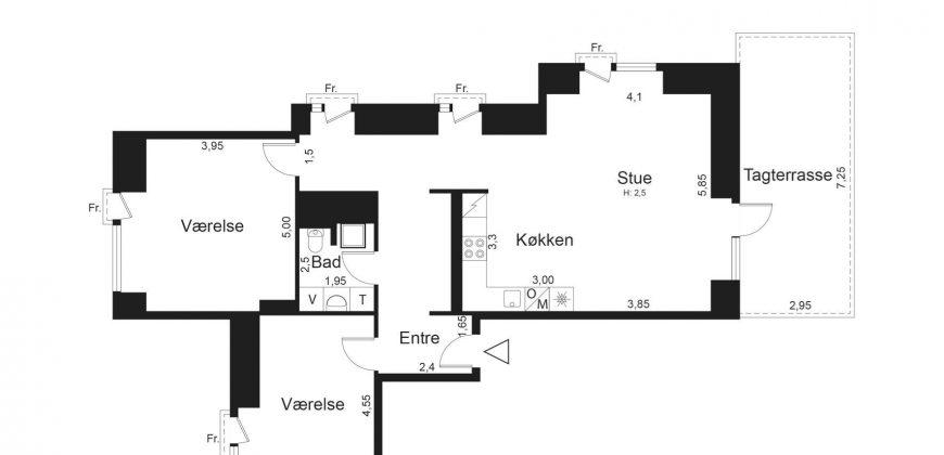 1410 – Penthouse med privat tagterrasse